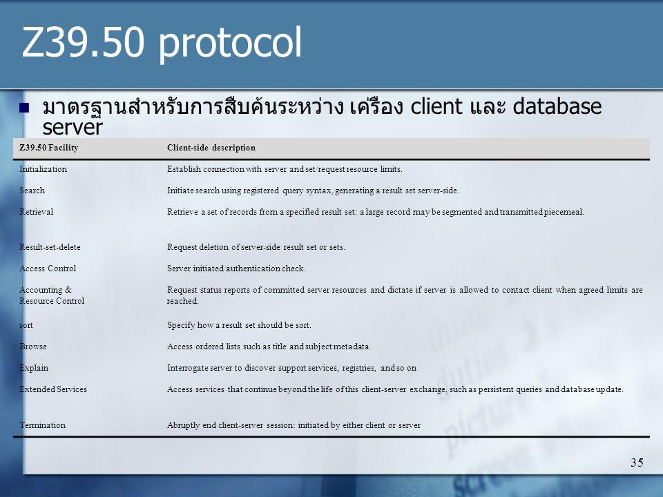 Z39.50 protocol มาตรฐานสำหรับการสืบค้นระหว่าง เค่รือง client และ database server. Z39.50 Facility.