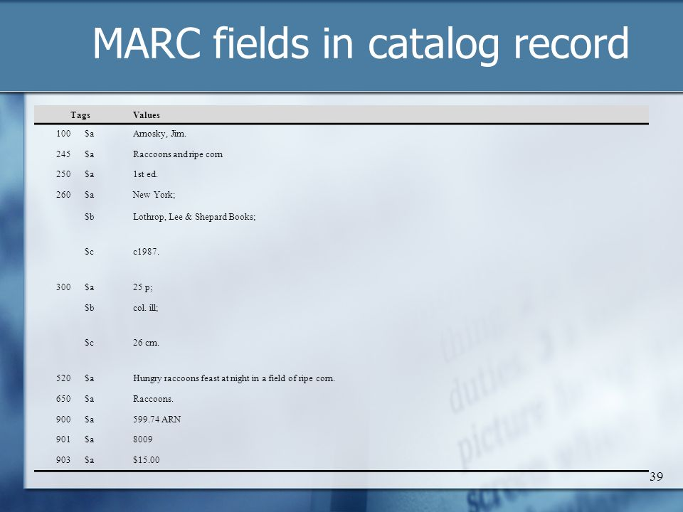 MARC fields in catalog record