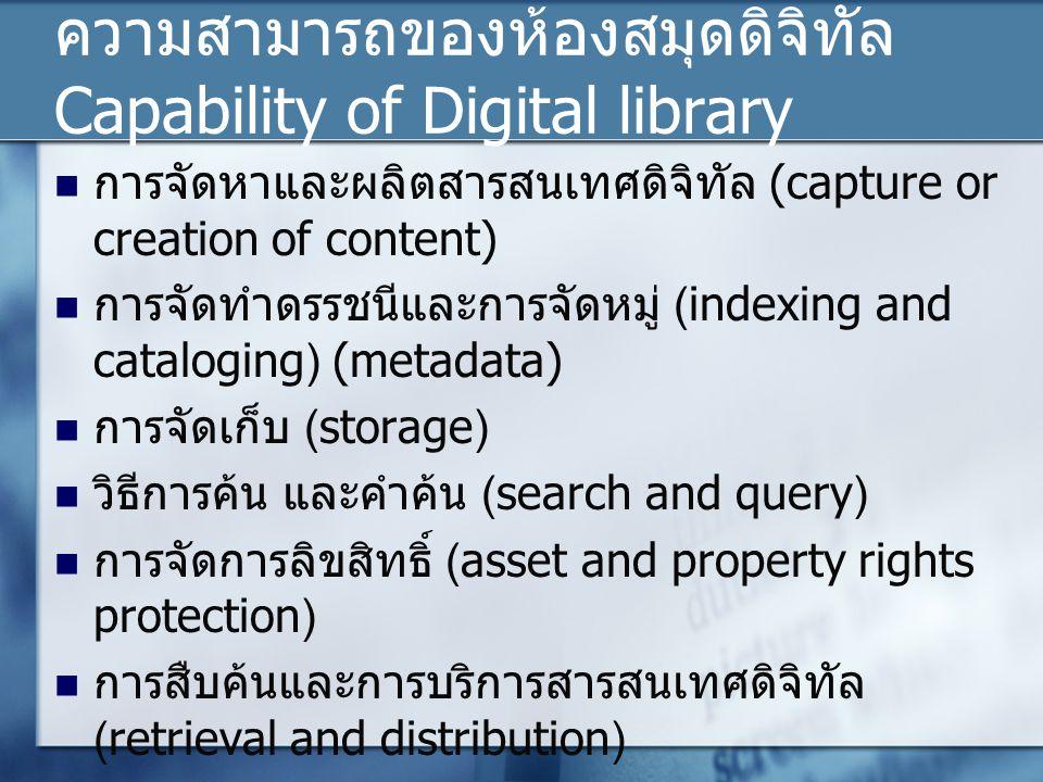 ความสามารถของห้องสมุดดิจิทัล Capability of Digital library