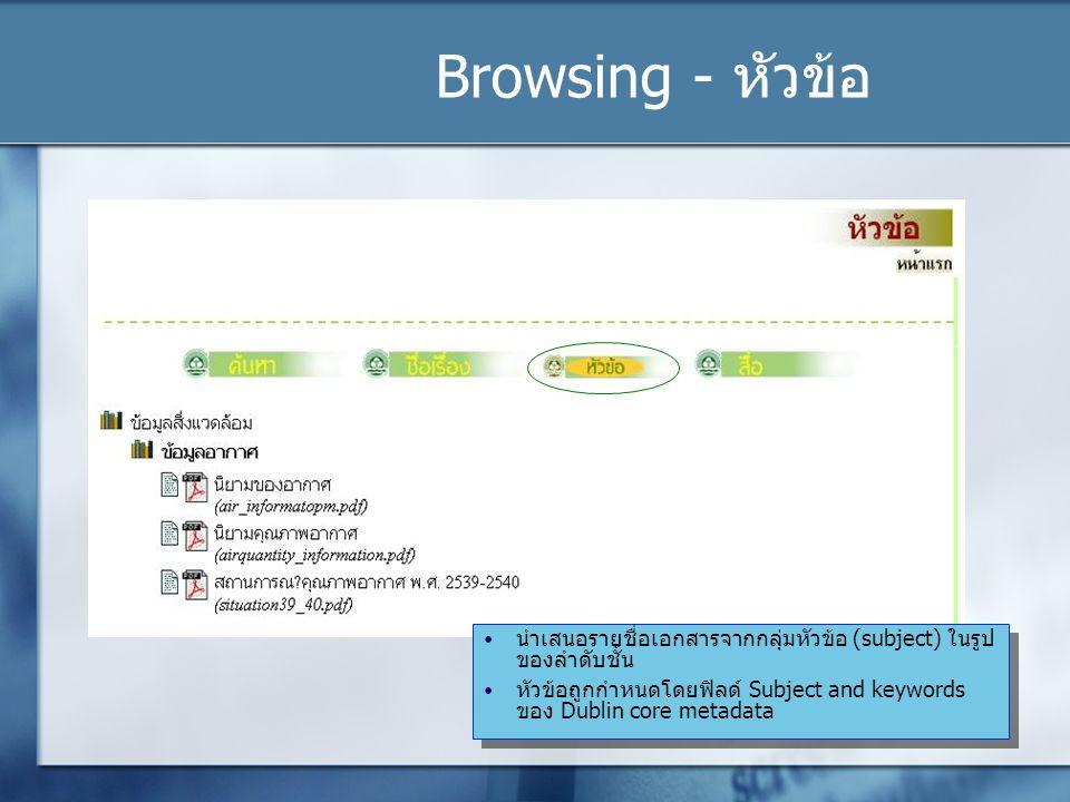 Browsing - หัวข้อ นำเสนอรายชื่อเอกสารจากกลุ่มหัวข้อ (subject) ในรูปของลำดับชั้น.
