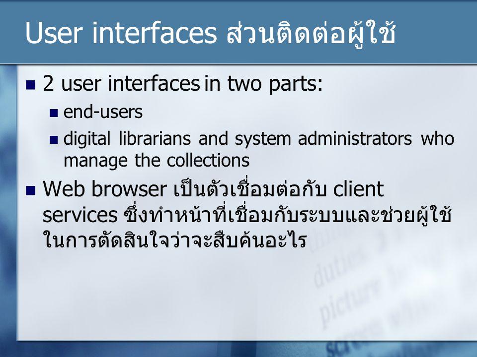 User interfaces ส่วนติดต่อผู้ใช้