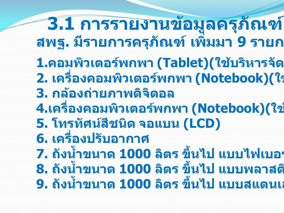 3.1 การรายงานข้อมูลครุภัณฑ์ (M-OBEC)