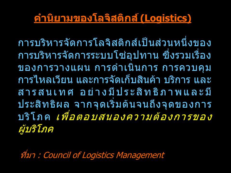 คำนิยามของโลจิสติกส์ (Logistics)