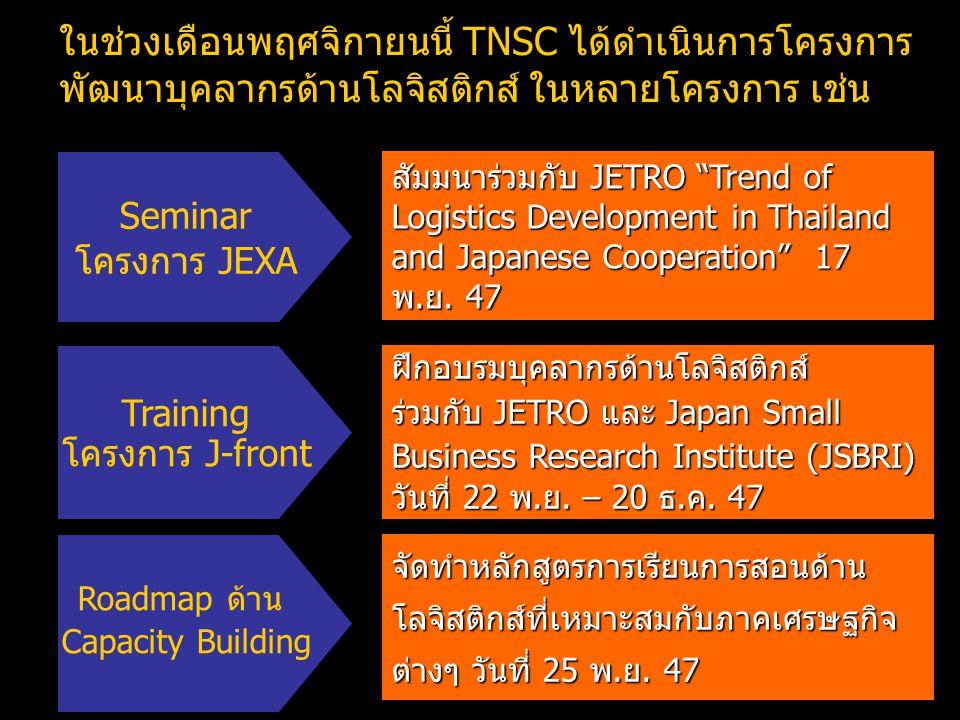ในช่วงเดือนพฤศจิกายนนี้ TNSC ได้ดำเนินการโครงการพัฒนาบุคลากรด้านโลจิสติกส์ ในหลายโครงการ เช่น