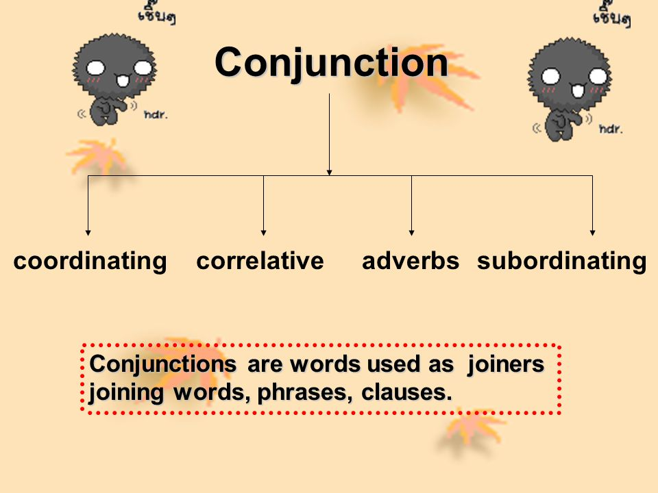 Conjunction coordinating correlative adverbs subordinating
