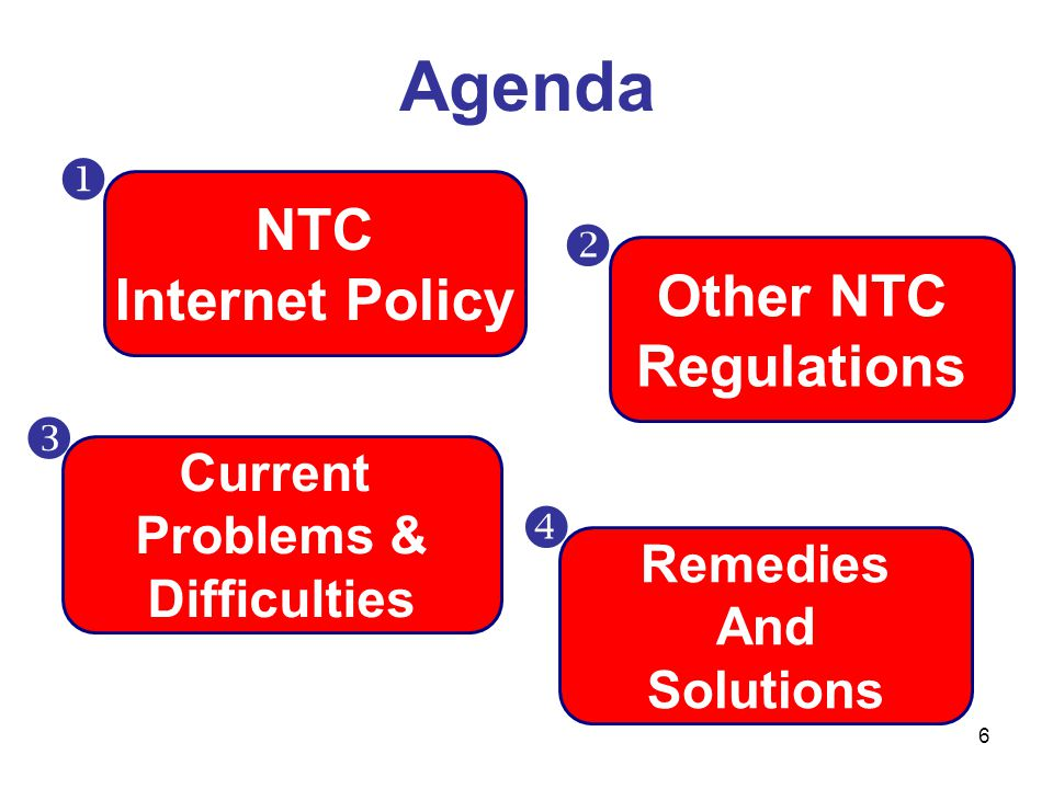 Agenda  NTC  Internet Policy Other NTC Regulations   Current