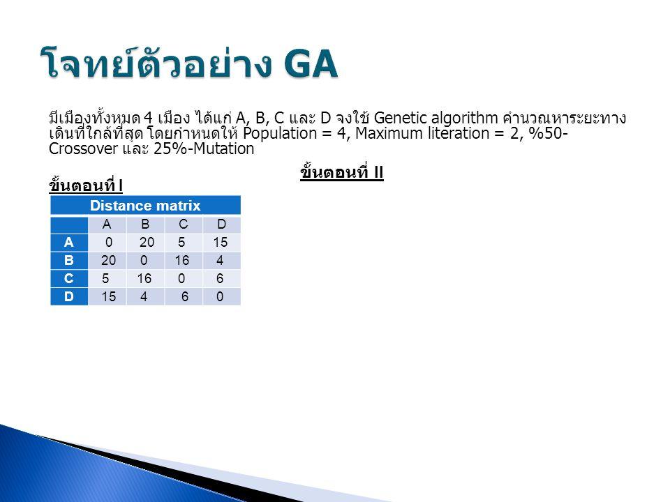 โจทย์ตัวอย่าง GA ขั้นตอนที่ II