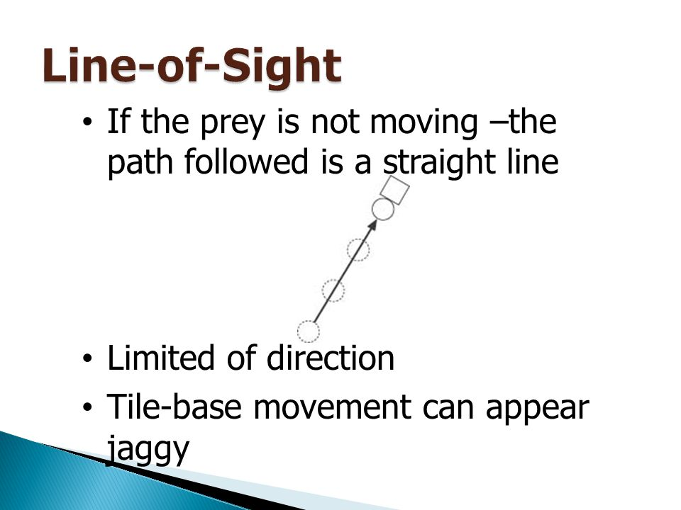 Line-of-Sight If the prey is not moving –the path followed is a straight line. Limited of direction.