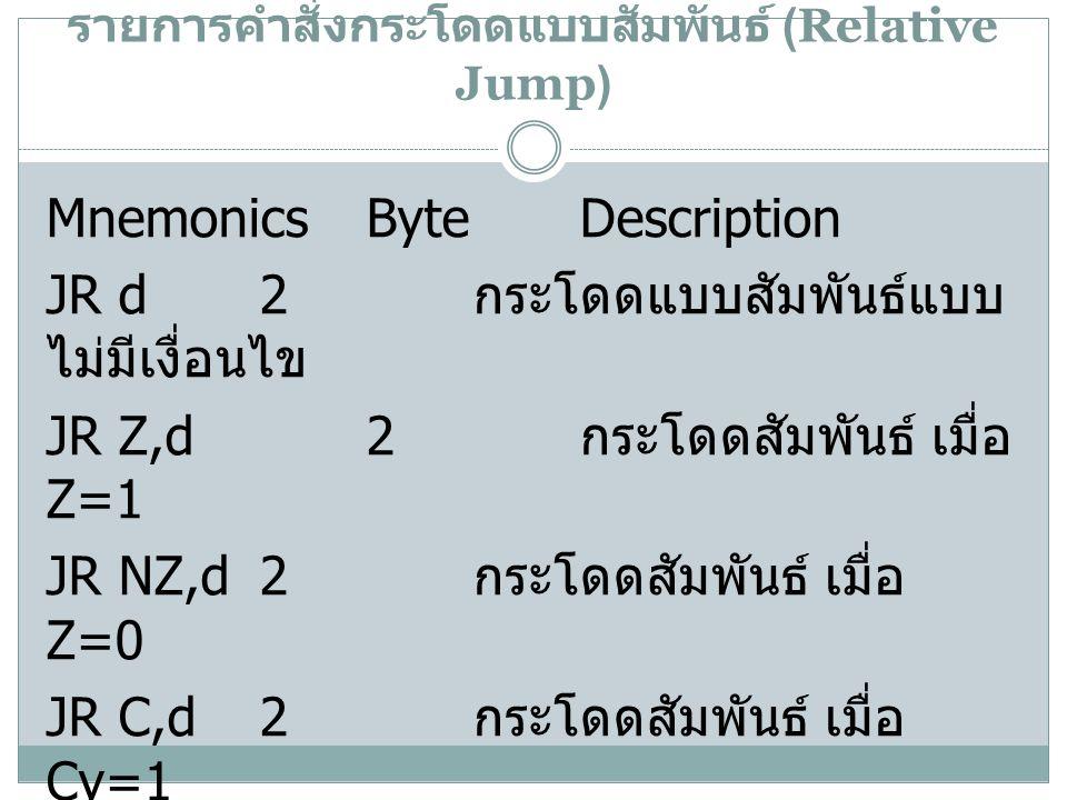 รายการคำสั่งกระโดดแบบสัมพันธ์ (Relative Jump)