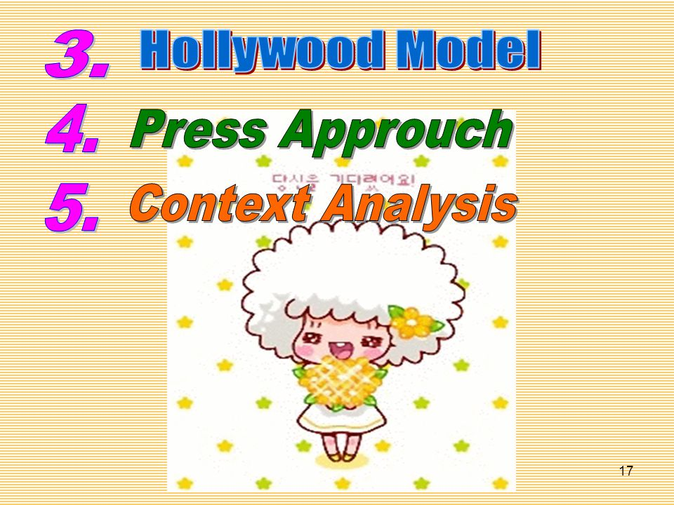 3. Hollywood Model 4. Press Approuch 5. Context Analysis