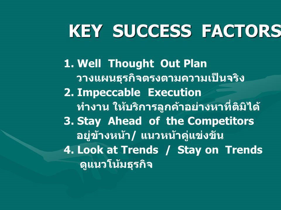 KEY SUCCESS FACTORS 1. Well Thought Out Plan