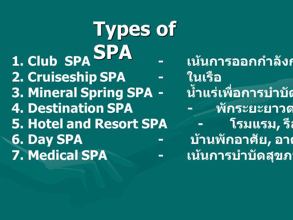Types of SPA 1. Club SPA - เน้นการออกกำลังกาย