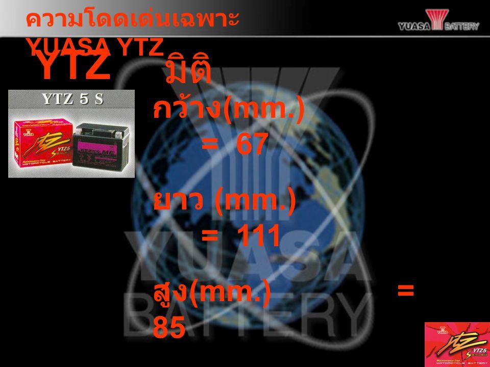 YTZ5S มิติ กว้าง(mm.) = 67 ยาว (mm.) = 111 สูง(mm.) = 85