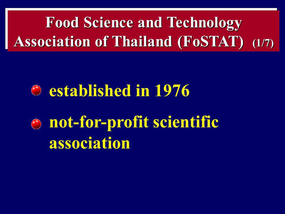 Food Science and Technology Association of Thailand (FoSTAT) (1/7)