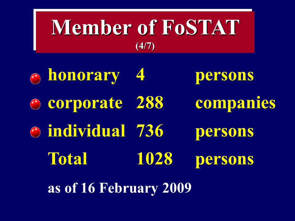 Member of FoSTAT (4/7) honorary 4 persons corporate 288 companies