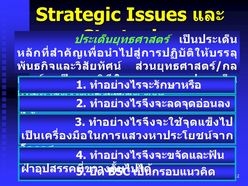 Strategic Issues และ Strategies