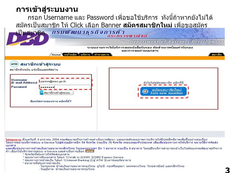 การเข้าสู่ระบบงาน กรอก Username และ Password เพื่อขอใช้บริการ ทังนี้ถ้าหากยังไม่ได้สมัครเป็นสมาชิก ให้ Click เลือก Banner สมัครสมาชิกใหม่ เพื่อขอสมัครเป็นสมาชิก