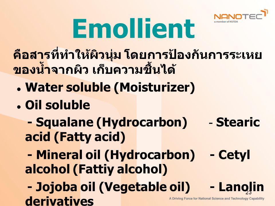 Emollient คือสารที่ทำให้ผิวนุ่ม โดยการป้องกันการระเหยของน้ำจากผิว เก็บความชื้นได้ Water soluble (Moisturizer)