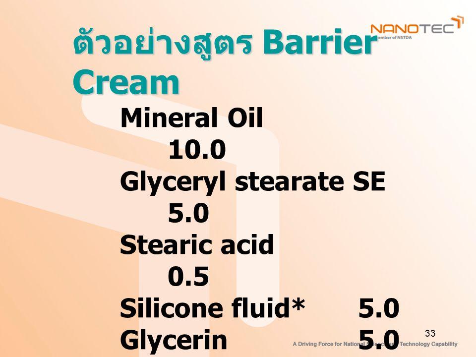ตัวอย่างสูตร Barrier Cream
