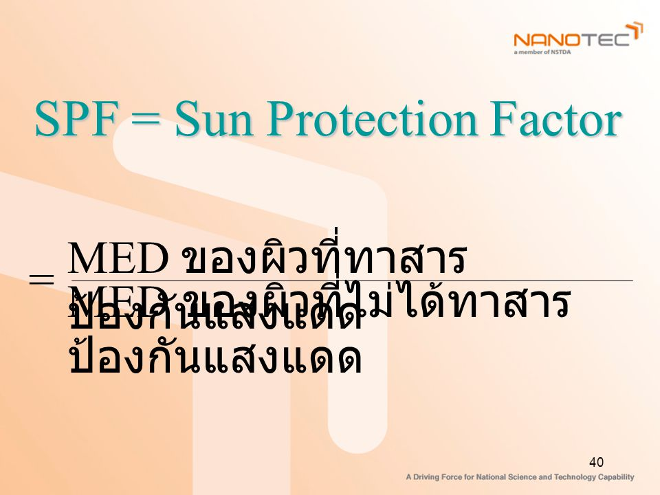 SPF = Sun Protection Factor