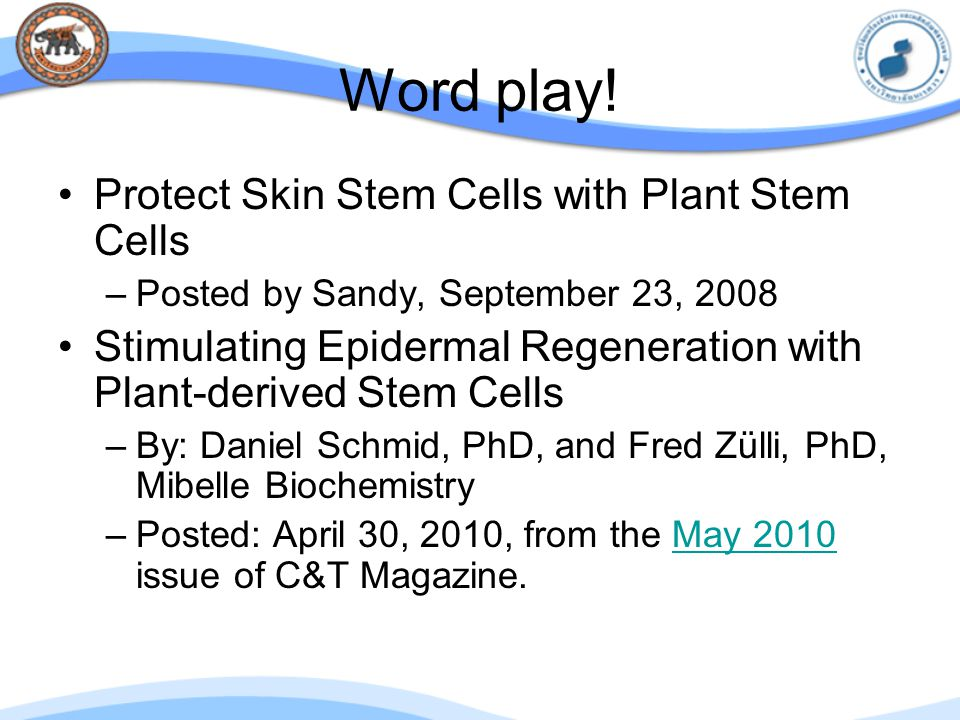 Word play! Protect Skin Stem Cells with Plant Stem Cells