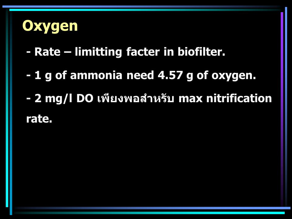 Oxygen - Rate – limitting facter in biofilter.