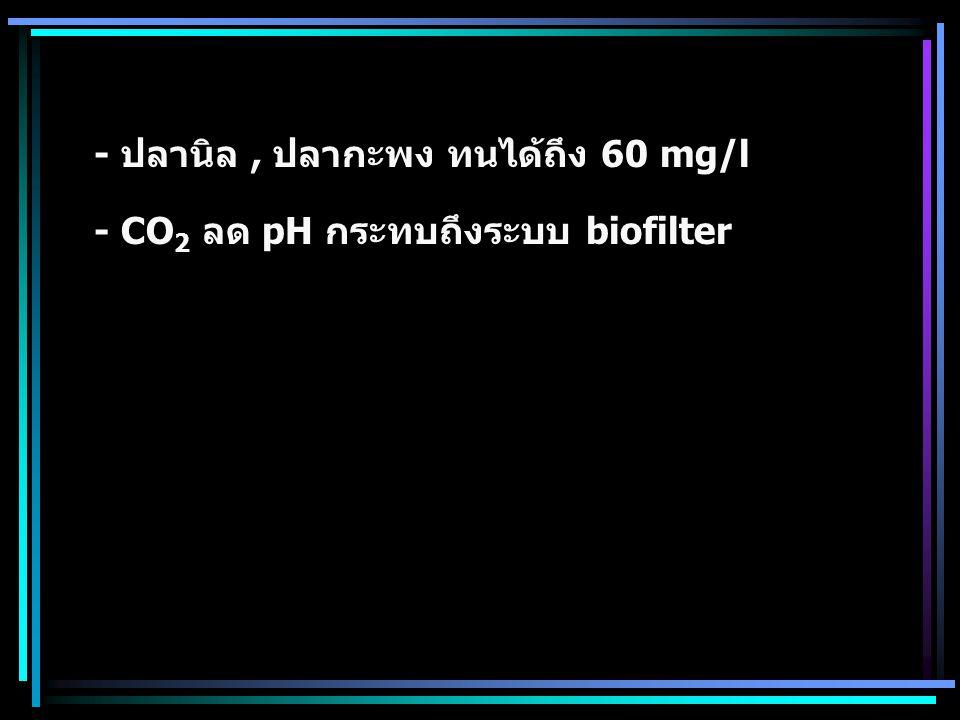 - ปลานิล , ปลากะพง ทนได้ถึง 60 mg/l