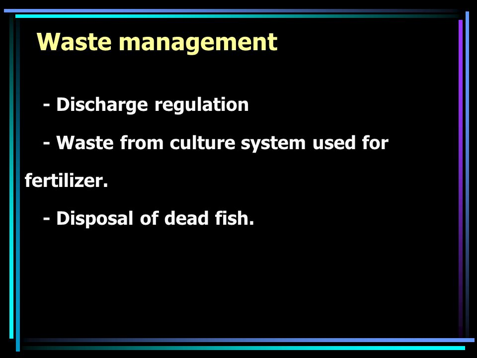 Waste management - Discharge regulation