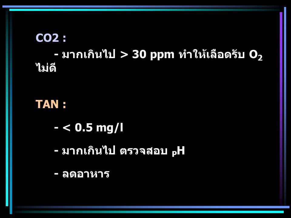 CO2 : - มากเกินไป > 30 ppm ทำให้เลือดรับ O2 ไม่ดี TAN : - < 0.5 mg/l.