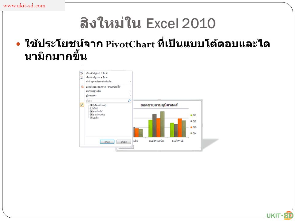 www.ukit-sd.com สิงใหม่ใน Excel 2010 ใช้ประโยชน์จาก PivotChart ที่เป็นแบบโต้ตอบและไดนามิกมากขึ้น