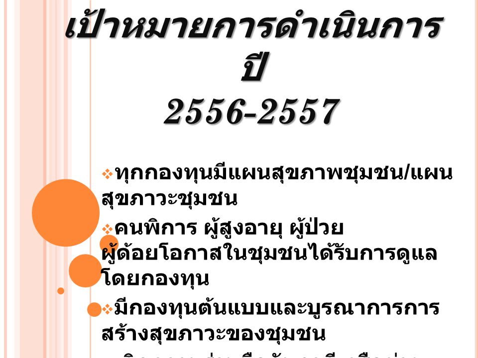 เป้าหมายการดำเนินการปี 2556-2557