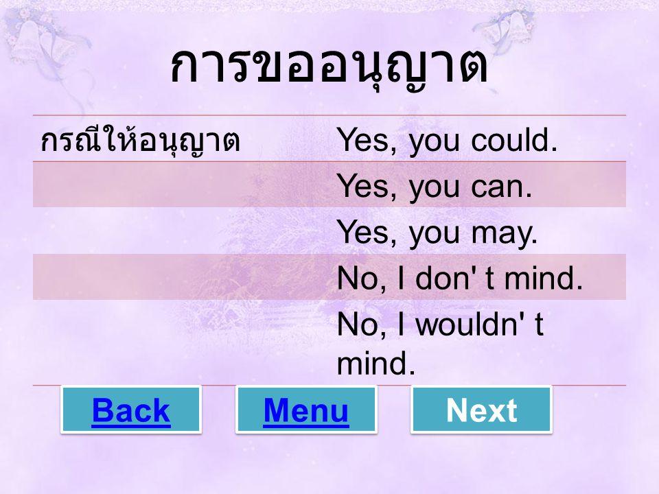 การขออนุญาต กรณีให้อนุญาต Yes, you could. Yes, you can. Yes, you may.