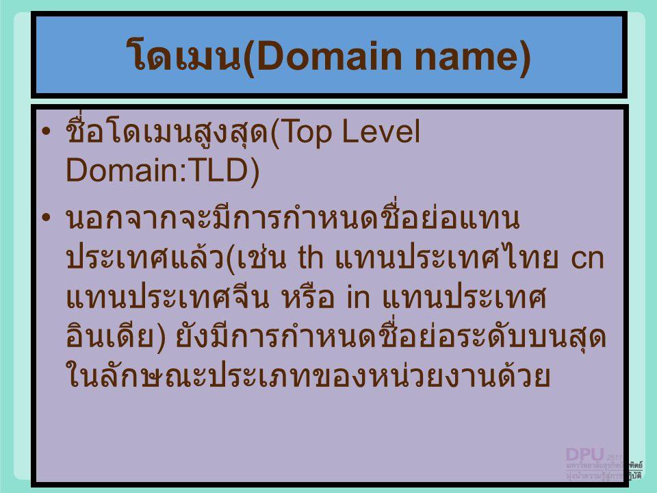 โดเมน(Domain name) ชื่อโดเมนสูงสุด(Top Level Domain:TLD)