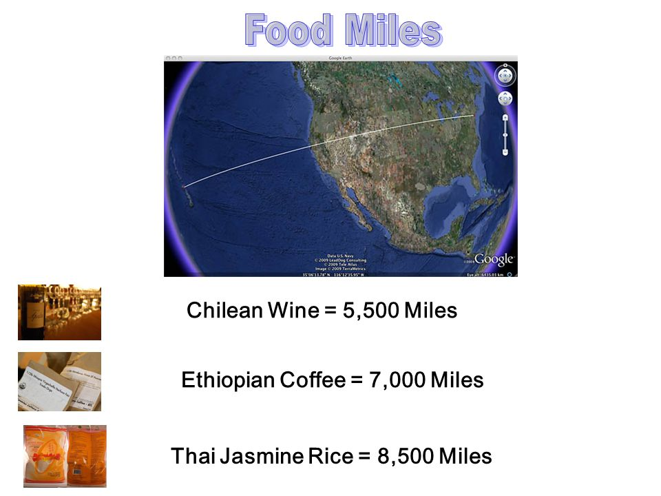 Food Miles Chilean Wine = 5,500 Miles Ethiopian Coffee = 7,000 Miles