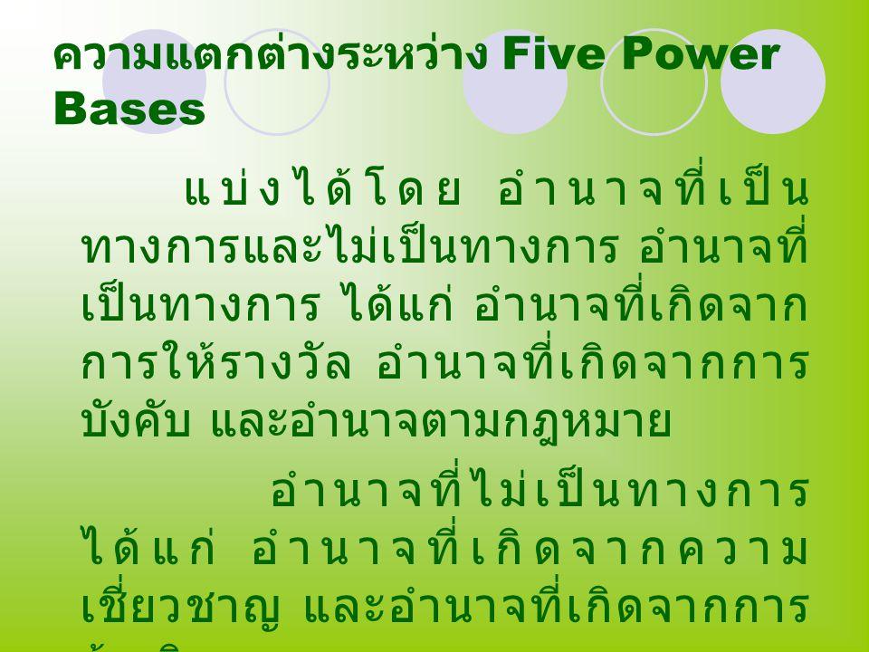 ความแตกต่างระหว่าง Five Power Bases