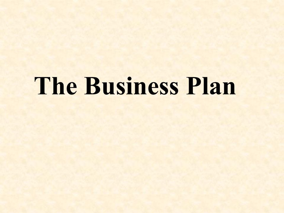 The Business Plan 1 1