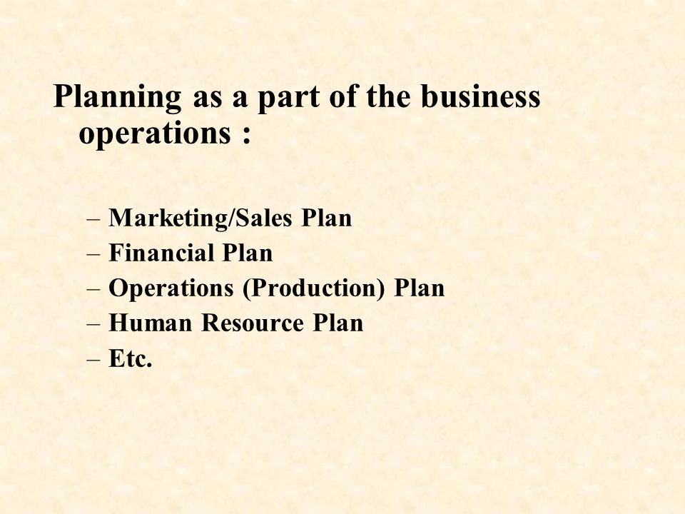 Planning as a part of the business operations :
