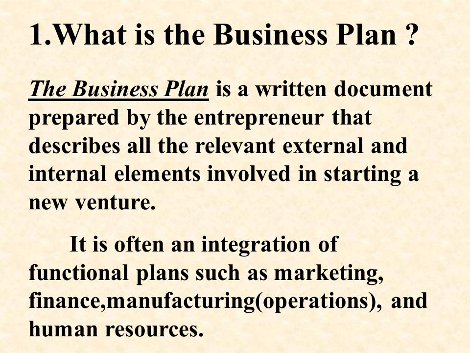 1.What is the Business Plan