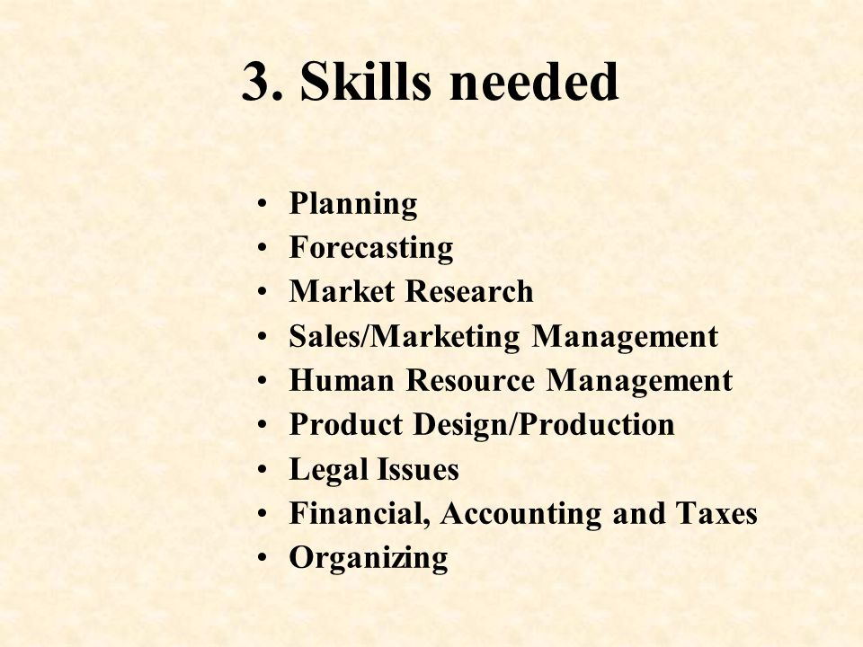 3. Skills needed Planning Forecasting Market Research