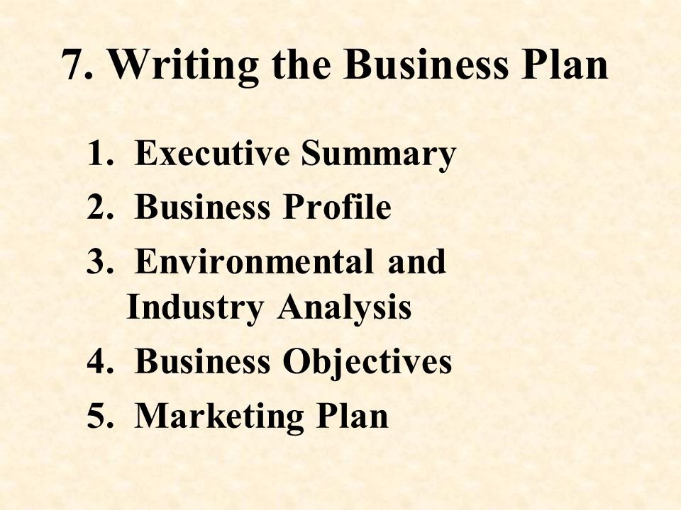 7. Writing the Business Plan