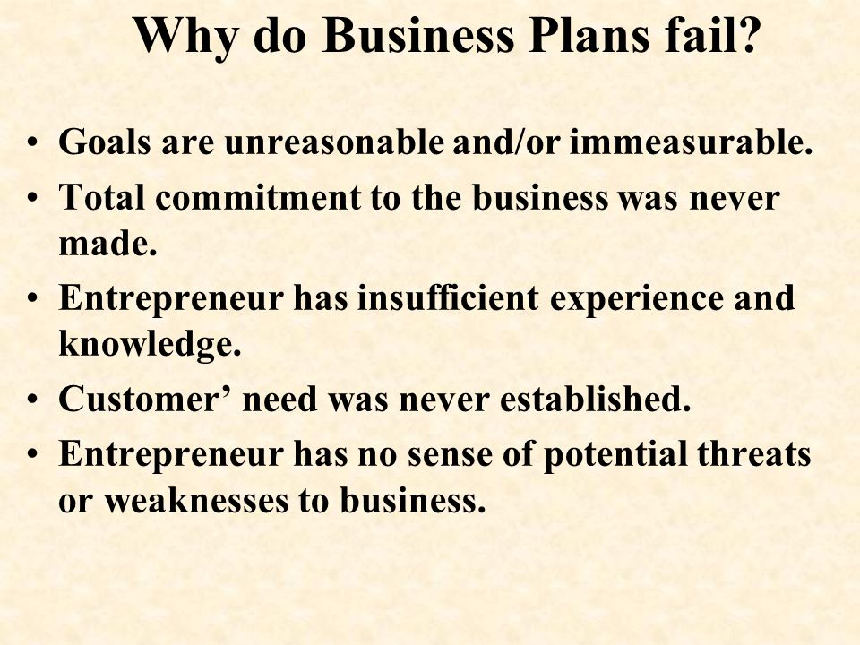 Why do Business Plans fail