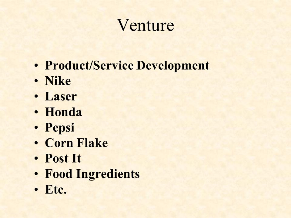 Venture Product/Service Development Nike Laser Honda Pepsi Corn Flake