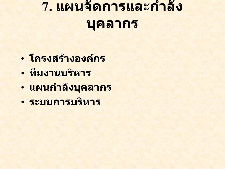 7. แผนจัดการและกำลังบุคลากร