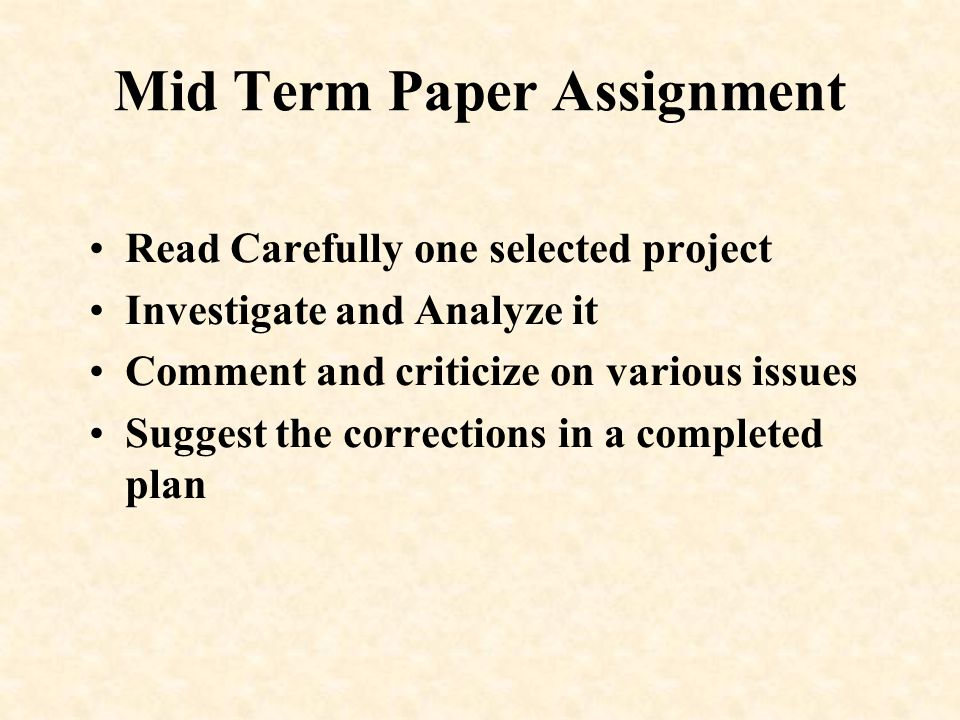 Mid Term Paper Assignment