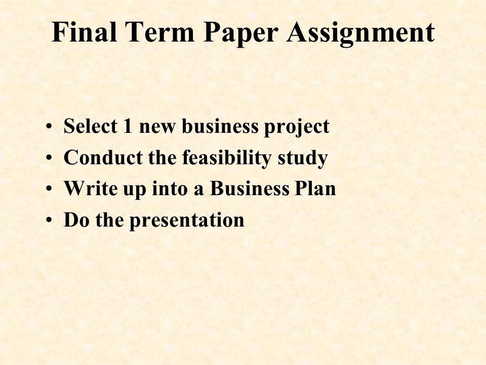 Final Term Paper Assignment
