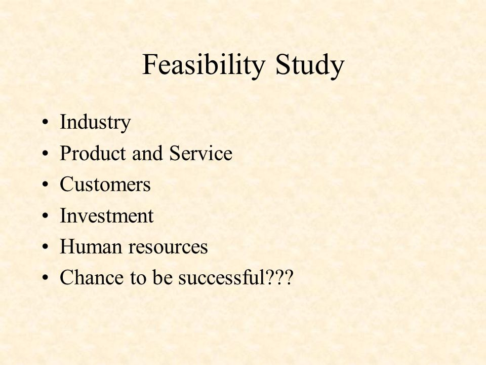Feasibility Study Industry Product and Service Customers Investment