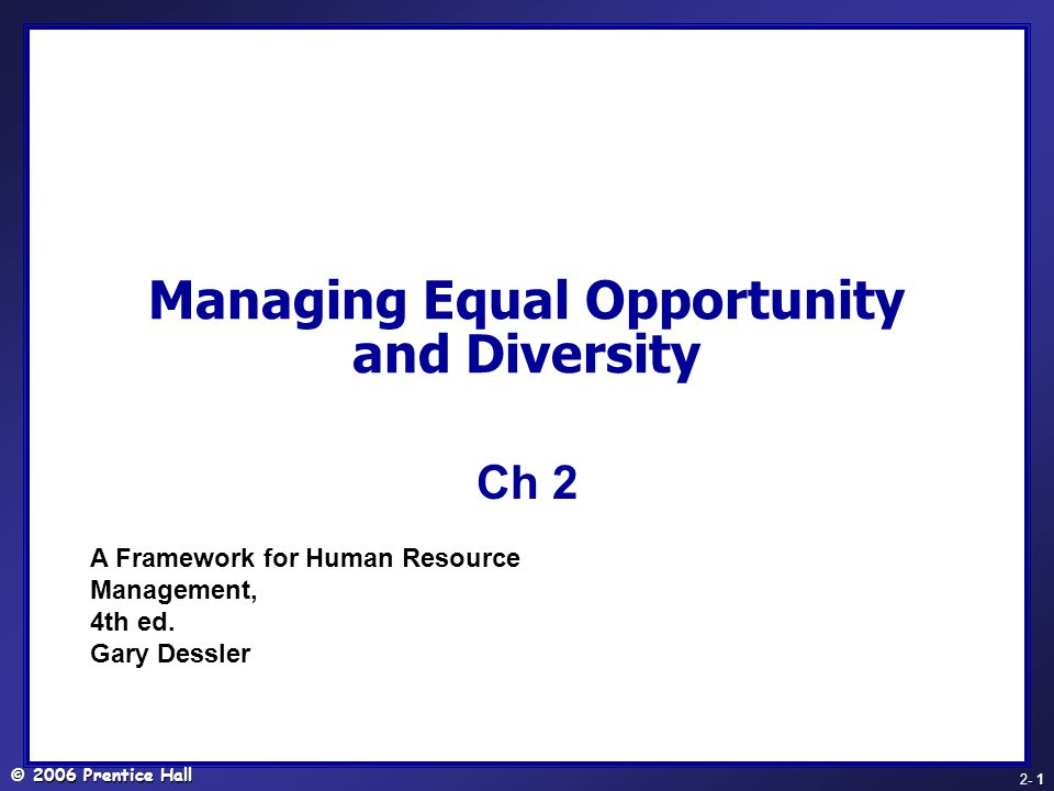 Managing Equal Opportunity and Diversity