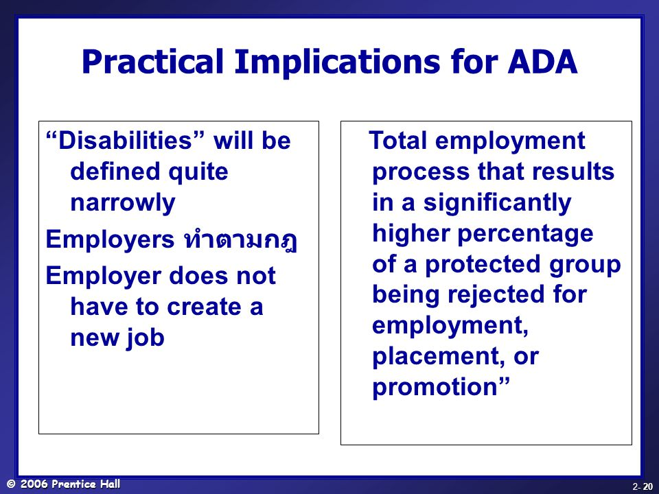 Practical Implications for ADA
