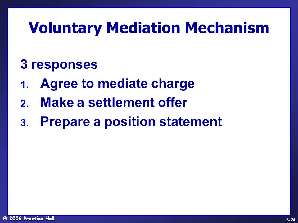 Voluntary Mediation Mechanism