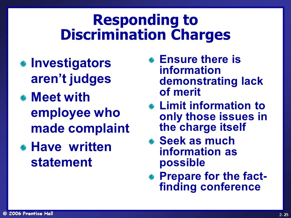 Responding to Discrimination Charges